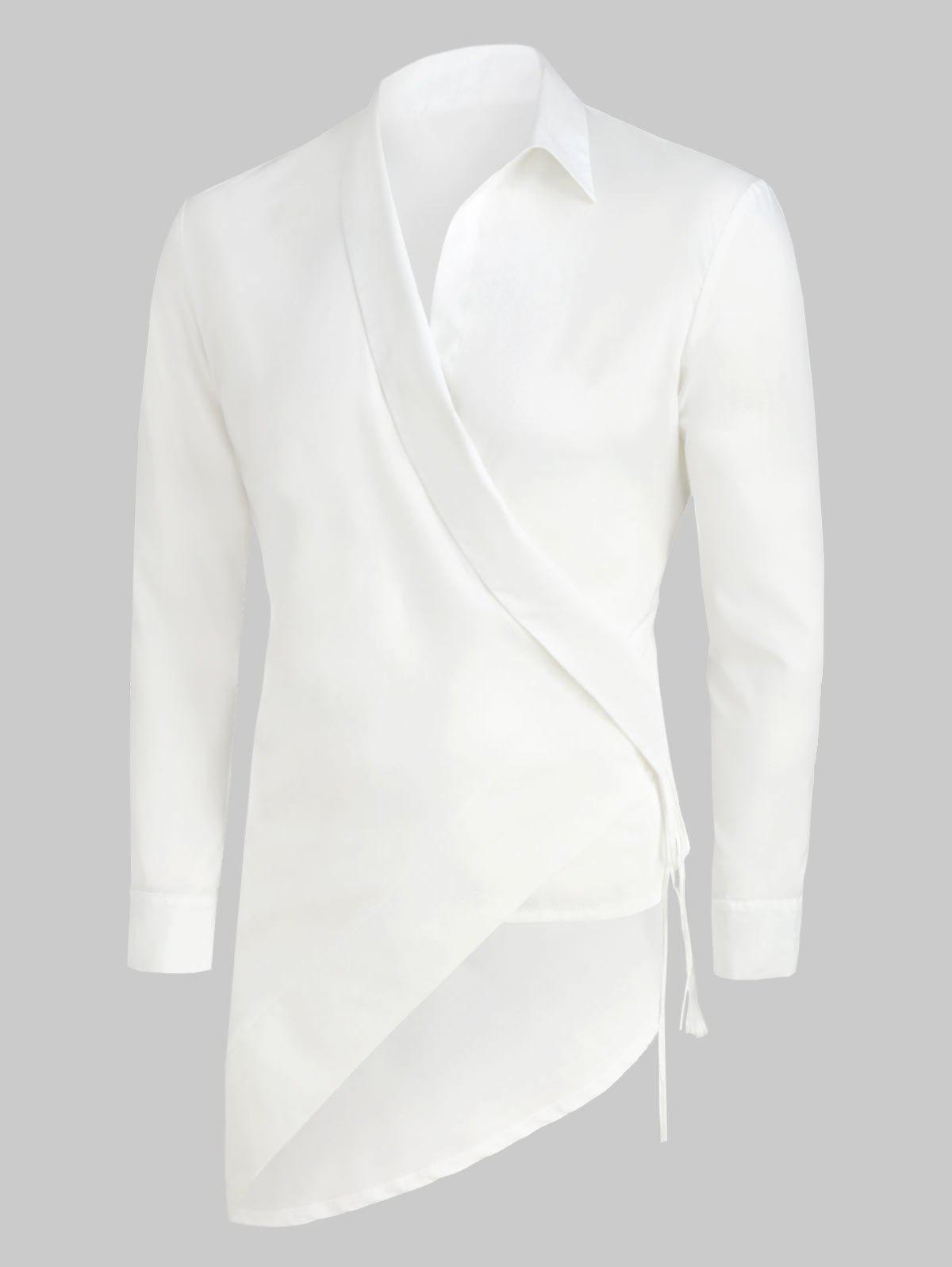 Solid Color Asymmetrical Long-sleeved Shirt - WHITE 2XL