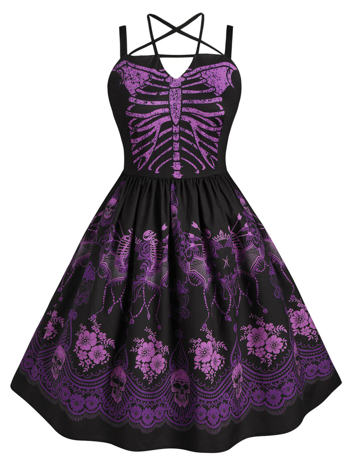Skeleton Print Halloween Harness Criss Cross Plus Size Dress - PURPLE 4X
