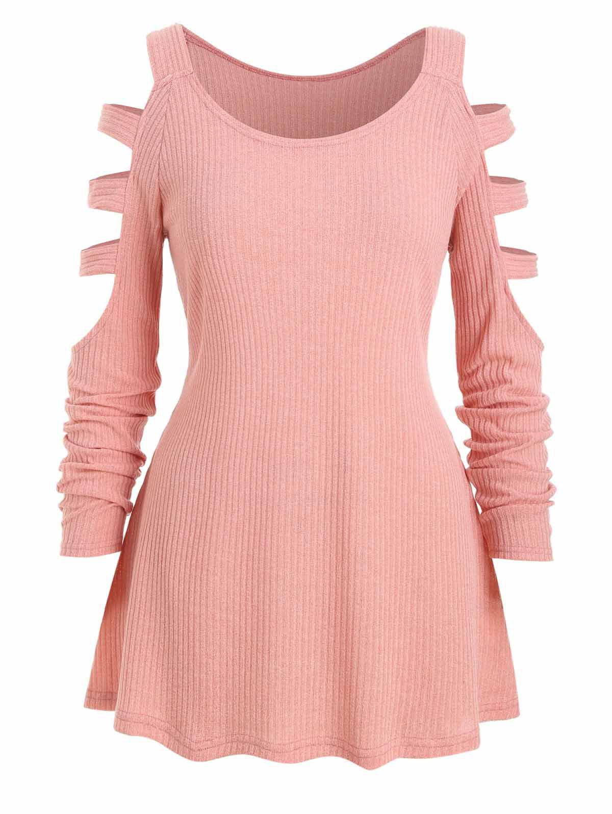 Ladder Cutout Plus Size Cold Shoulder Tunic Knitwear - PINK 2X
