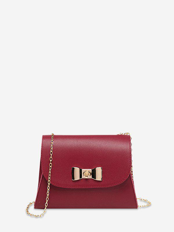 Bow Lock Chain Small Square Cover Bag - LAVA RED