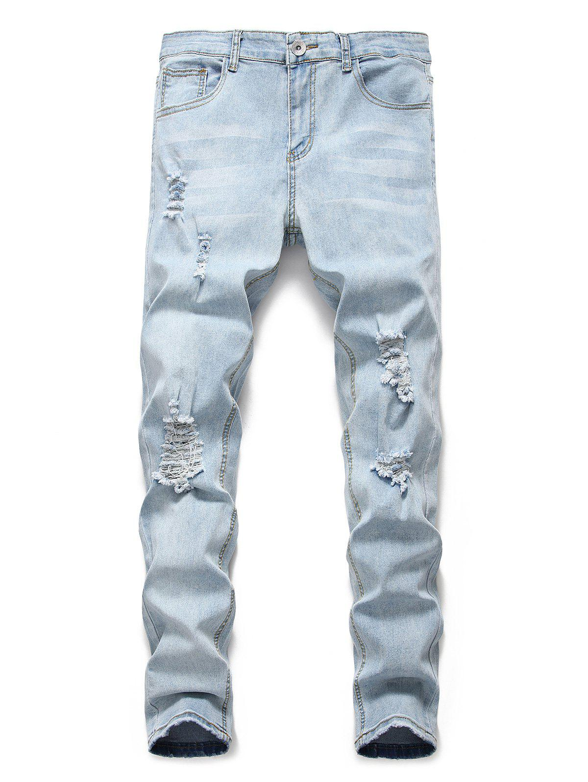 Light Wash Distressed Design Casual Jeans - JEANS BLUE 3XL