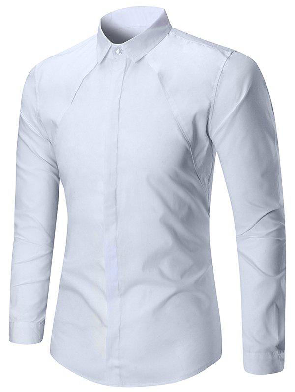 Long Sleeve Solid Color Button Slim Fit Shirt - WHITE XL