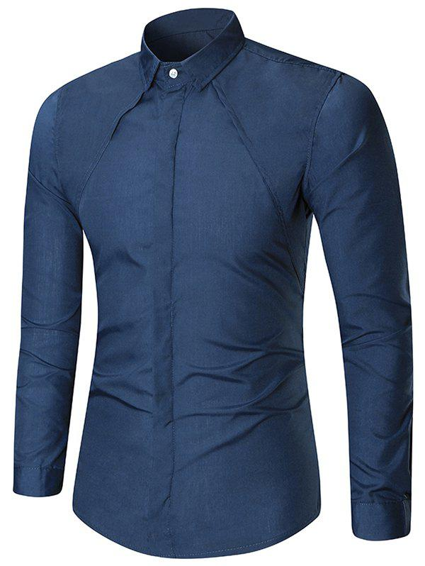 Long Sleeve Solid Color Button Slim Fit Shirt - CADETBLUE XL