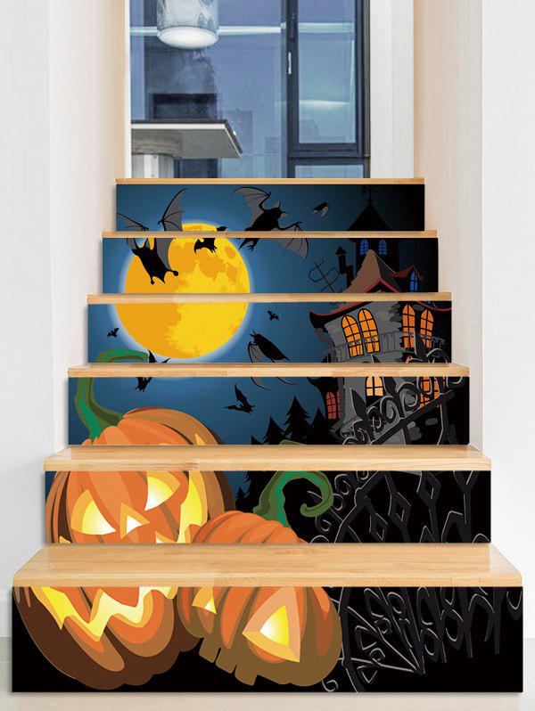 Halloween Moon Night Pumpkins Print Removable Stair Stickers, Multi-a