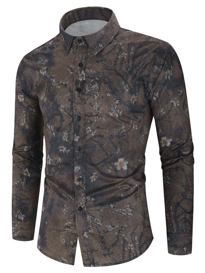 Floral Painting Print Long Sleeve Casual Shirt - PUCE 2XL
