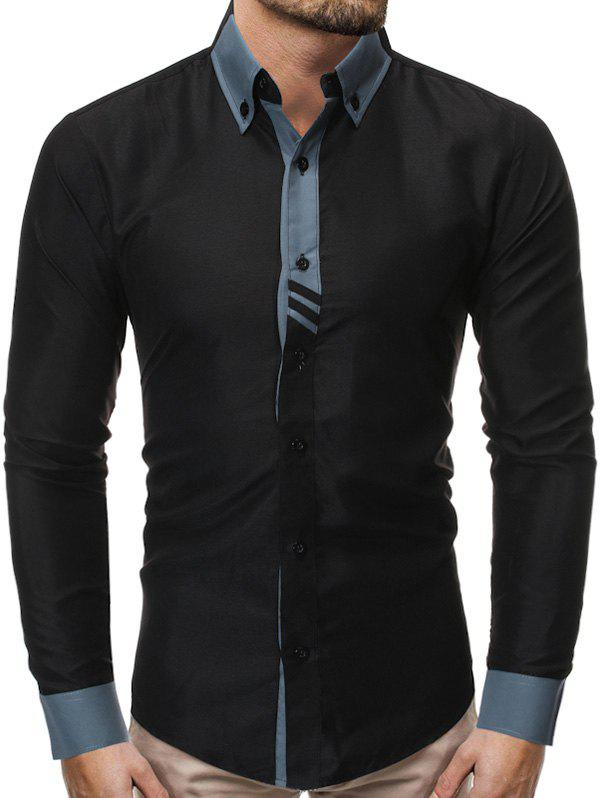 Color Spliced Button Up Casual Long-sleeved Shirt - BLACK M