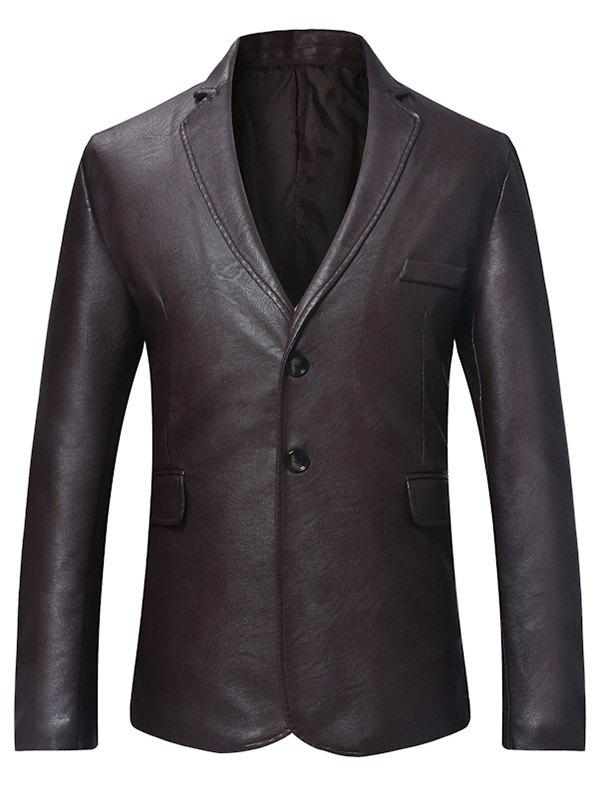 Faux Leather Button Long-sleeved Blazer - RED WINE XL