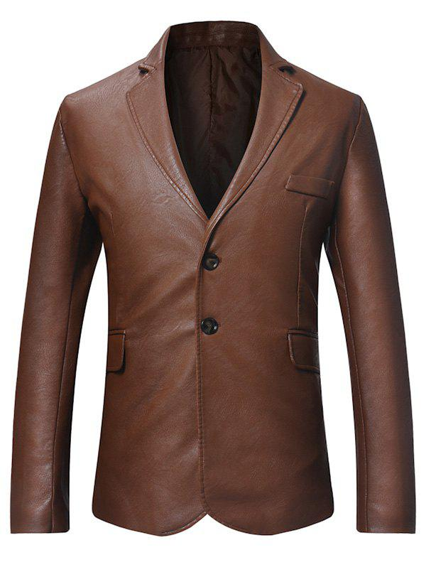Faux Leather Button Long-sleeved Blazer - BROWN XL