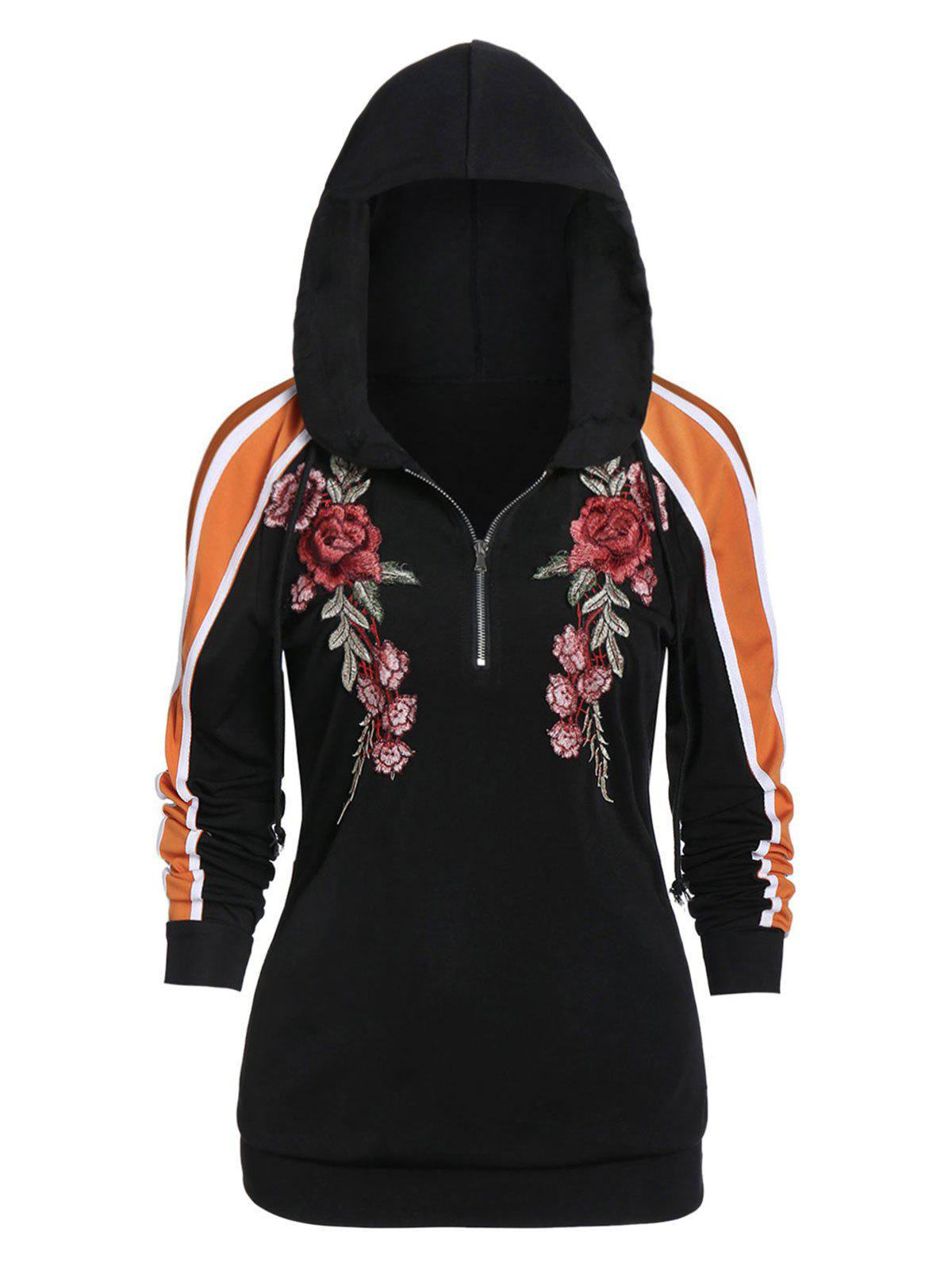 Embroidered Color Block Long Sleeve Hoodie - BLACK XL