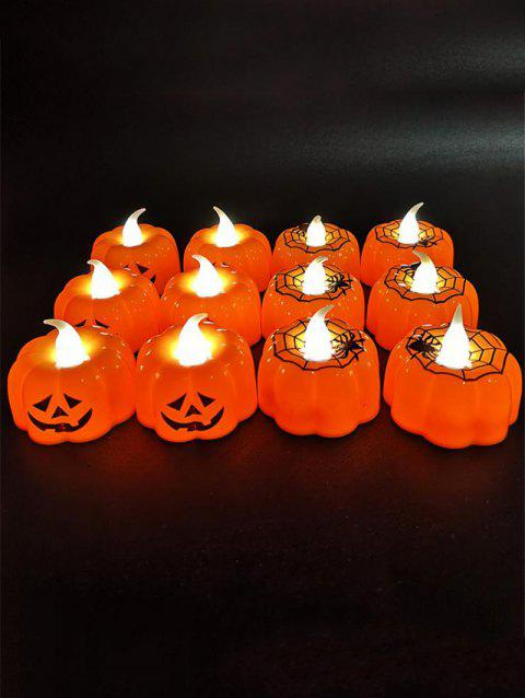 12 Pcs Halloween Pumpkin Shape Decorative LED Night Lights - HALLOWEEN ORANGE