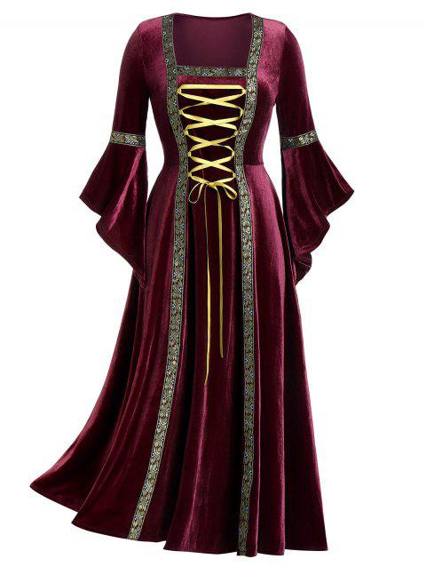 Plus Size Bell Sleeve Lacing Velvet Maxi Gothic Dress - RED WINE 1X