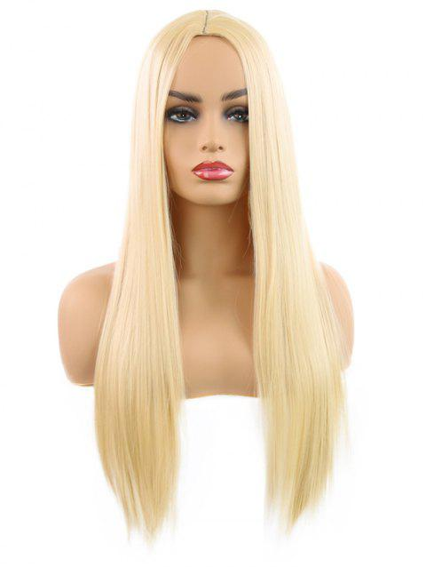 Synthetic Center Part Straight Long Wig - GOLD