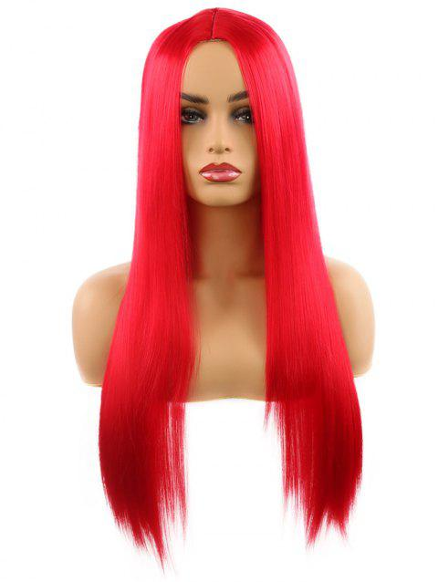 Synthetic Center Part Straight Long Wig - RED