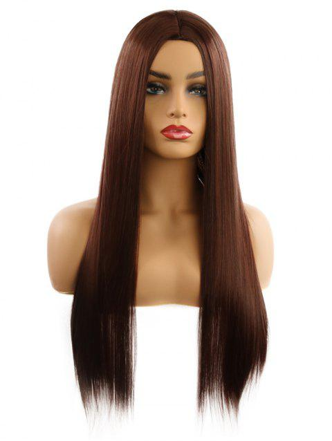 Synthetic Center Part Straight Long Wig - DEEP BROWN