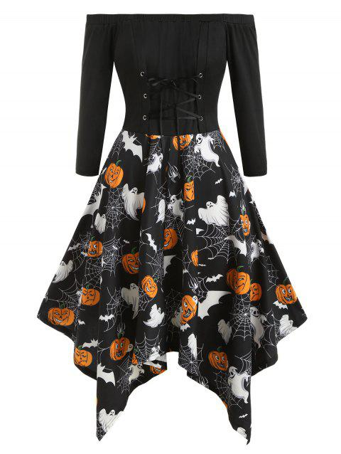 Lace Up Pumpkin Cobwebs Off Shoulder Halloween Plus Size Dress - BLACK 5X