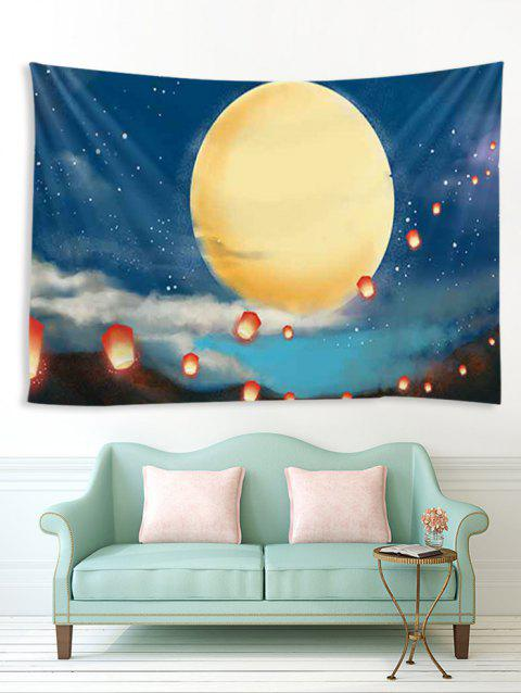 Moon Night Lantern Print Tapisserie Décoration Murale Art Décoration - multicolor A W59 X L59 INCH