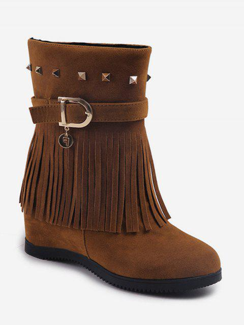 Hidden Heel Fringed Rivet Mid Calf Boots - BROWN EU 40