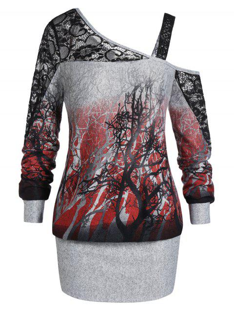 Plus Size Halloween Skew Neck Tree Print Ombre Blouson Sweatshirt - DARK SLATE GREY L