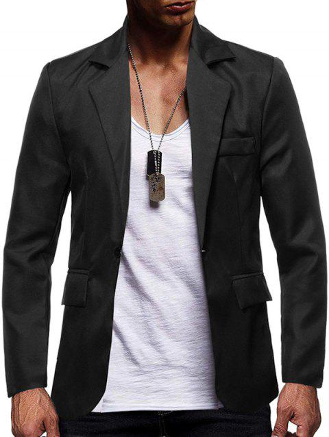 Solid Color Flap Pocket Split Casual Blazer - BLACK L