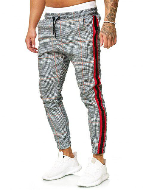 Contrast Striped Spliced Pattern Graphic Print Casual Jogger Pants - LIGHT GRAY M