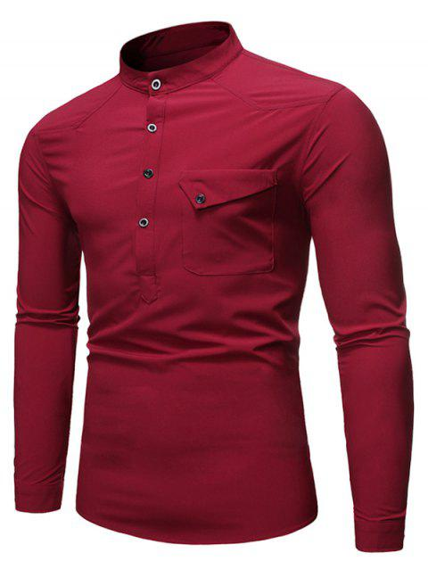 Pocket Long Sleeve T-Shirt - RED WINE L