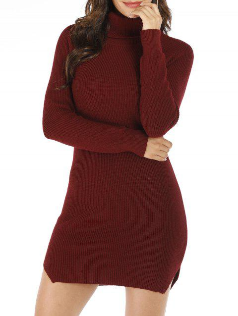 Turtleneck Bodycon Raglan Sleeve Sweater Dress - RED WINE ONE SIZE