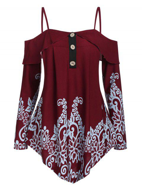 Cold Shoulder Cami Button Printed T Shirt - RED WINE XL