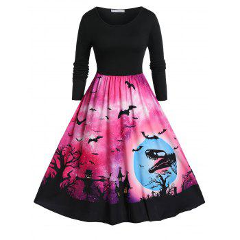 Plus Size Halloween Bat Priny Fit And Flare Vintage Dress