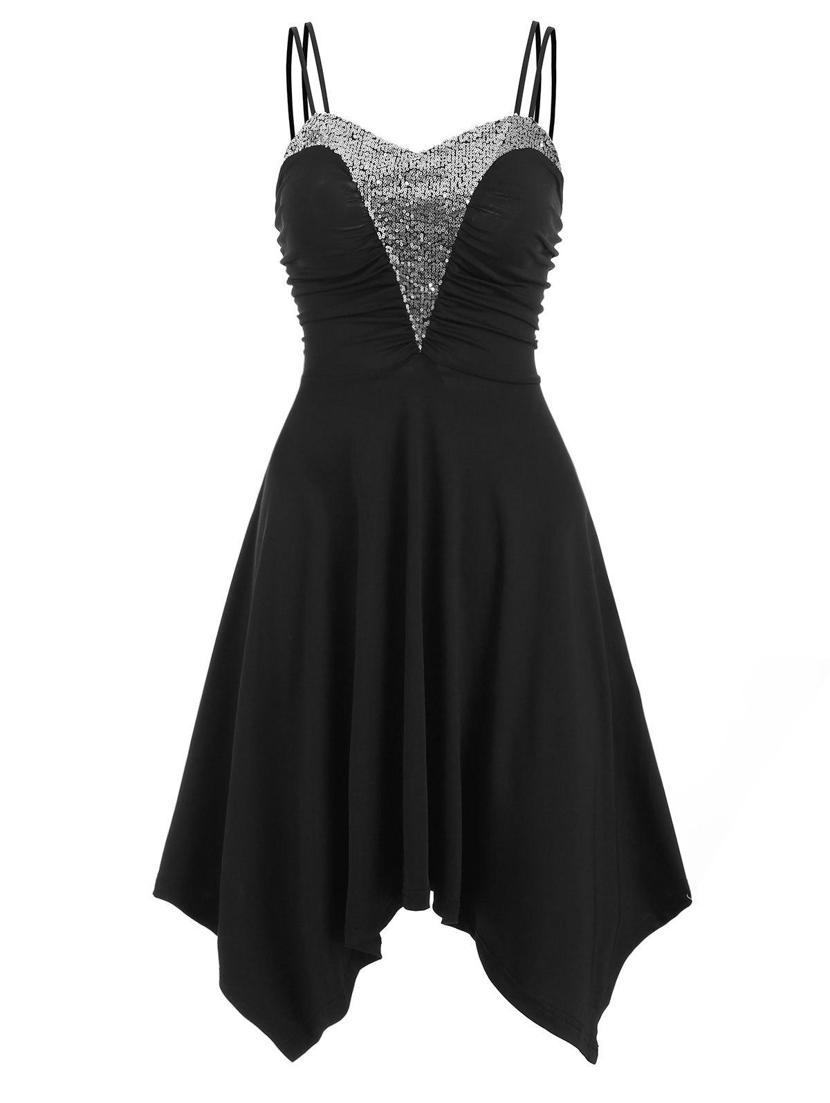 Dual Straps Sequined Ruched Handkerchief Dress - BLACK XL