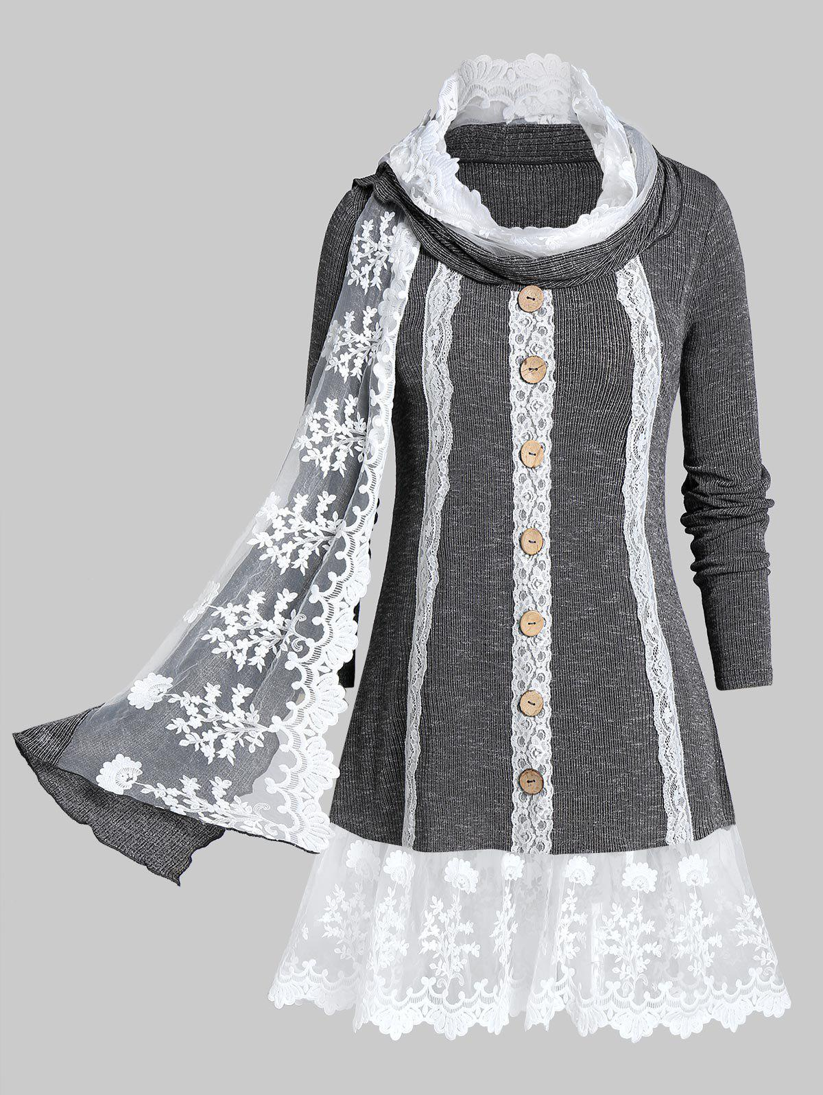 Plus Size Contrast Lace Marled Knitwear With Scarf - DARK GRAY 4X