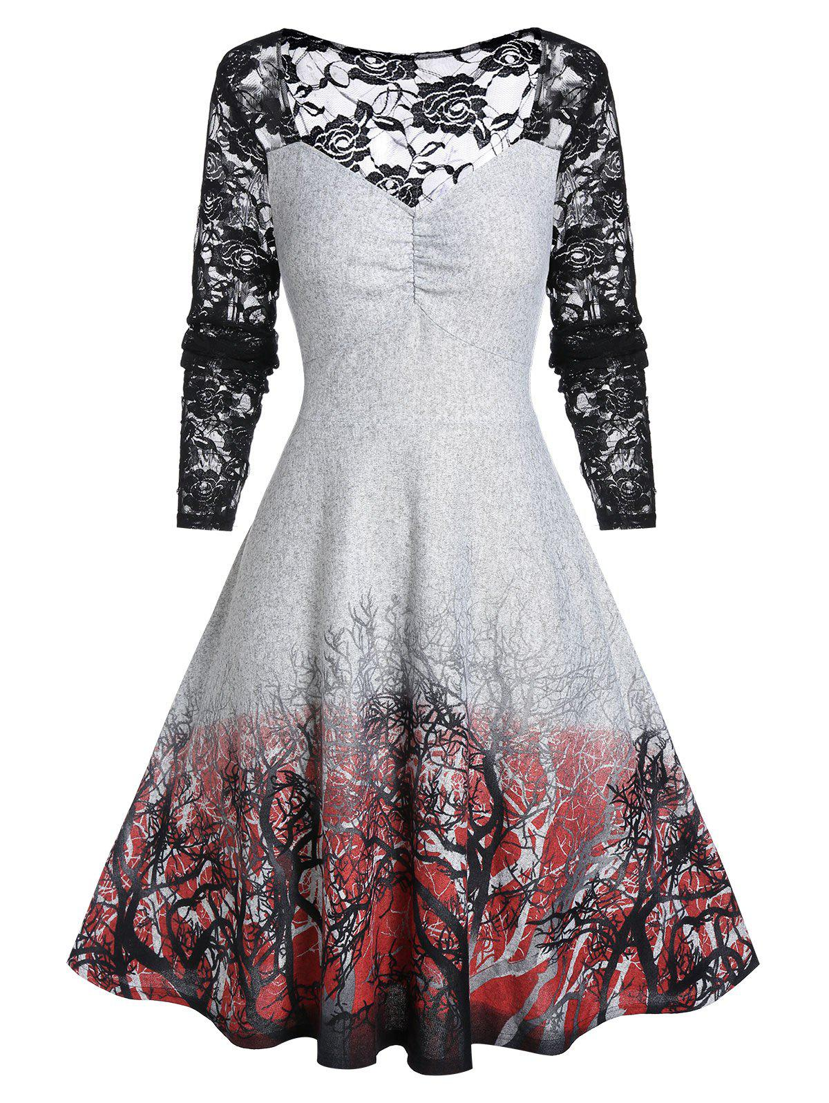 Plus Size Lace Insert Tree Print Long Sleeve Vintage Dress - GRAY CLOUD 4X
