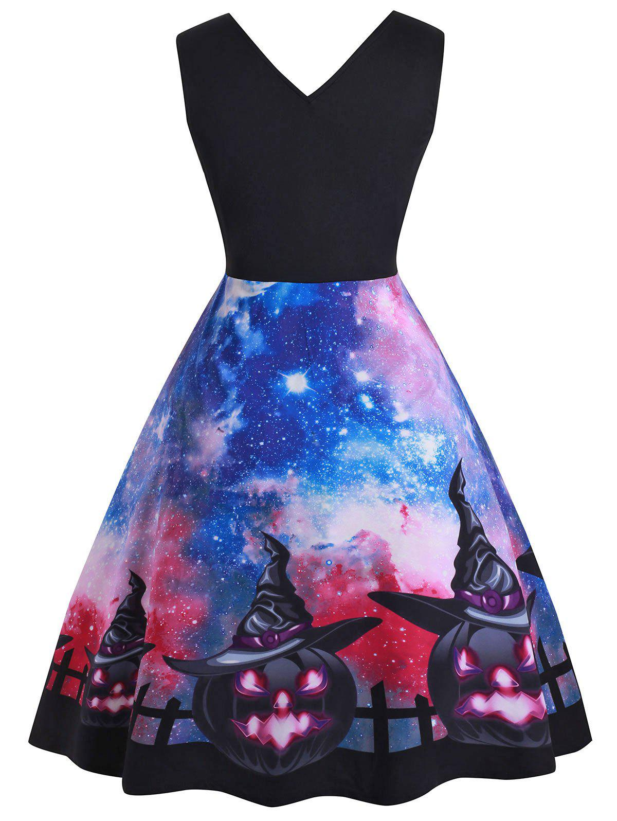 Galaxy Pumpkin Double V Contrast Halloween Plus Size Dress