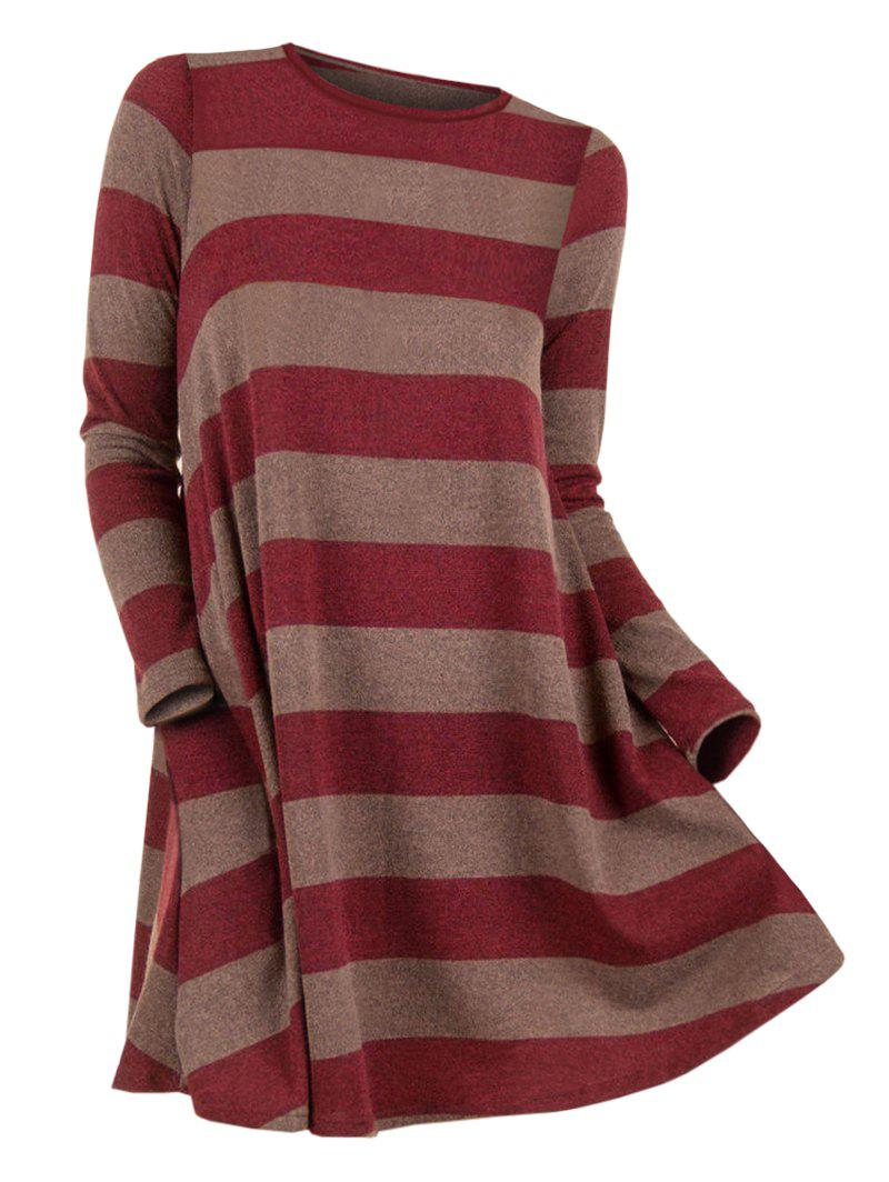 Striped Longline Long Sleeve Knitwear - RED S
