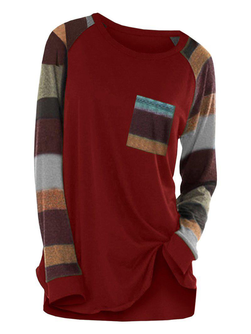 Striped Raglan Sleeve Pocket Longline T-shirt - RED WINE XL