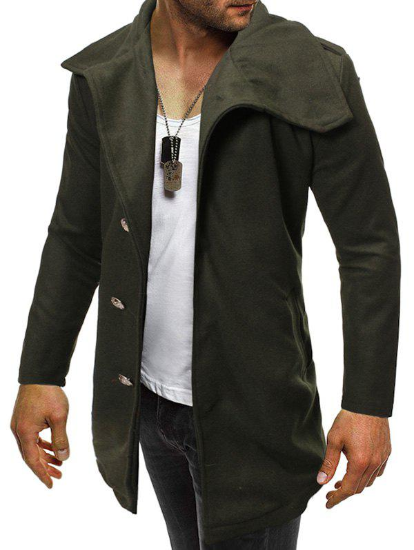 Solid Color Button Zipper Hem Woollen Coat - ARMY GREEN L