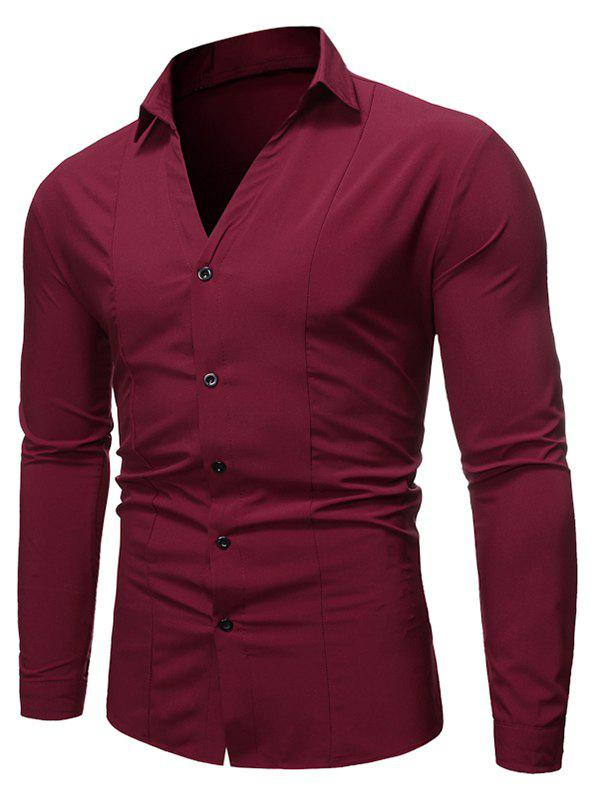 V Neck Button Up Long-sleeved Shirt - RED WINE L