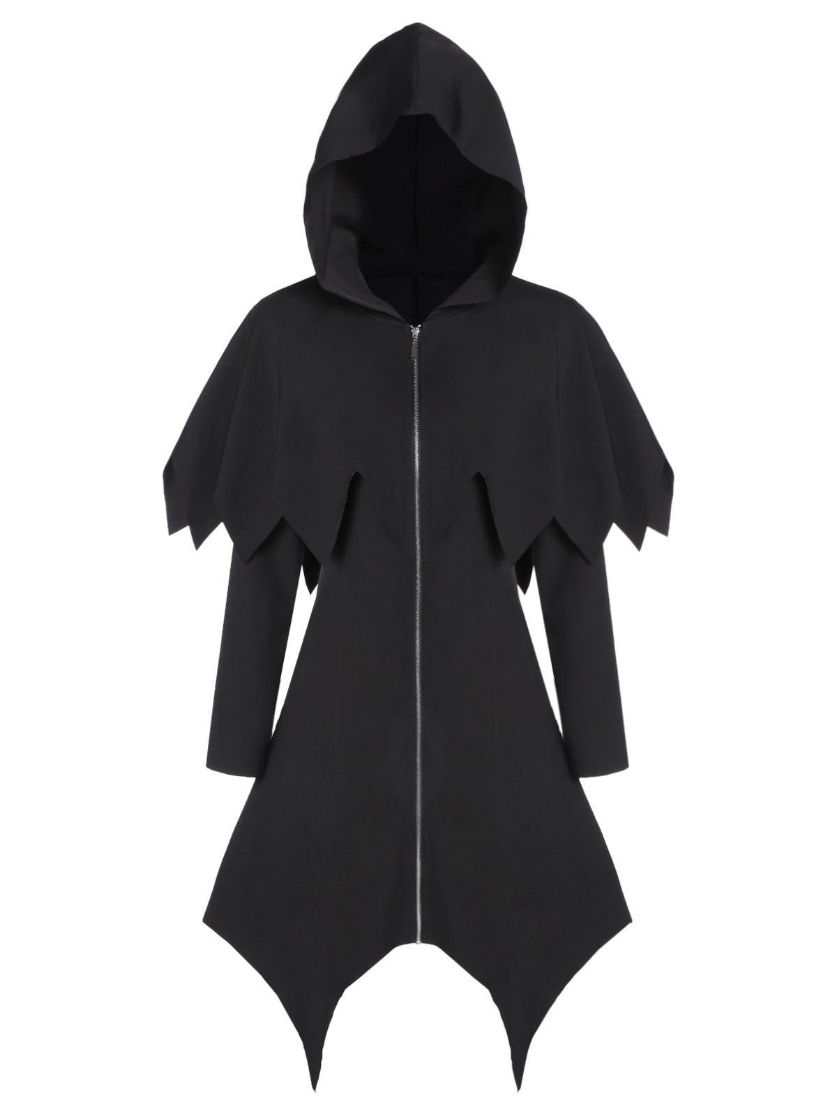 Hooded Zipper Asymmetric Gothic Capelet Handkerchief Coat - BLACK L