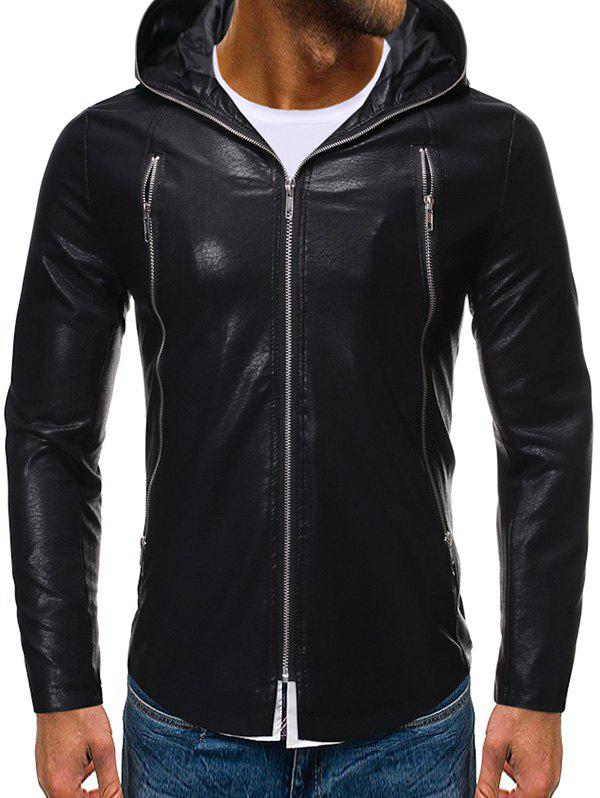 Solid Color Zipper Faux Leather Hooded Jacket - BLACK XL