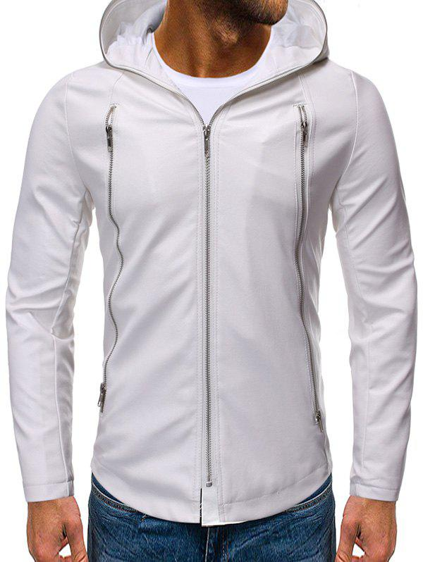 Solid Color Zipper Faux Leather Hooded Jacket - WHITE 2XL