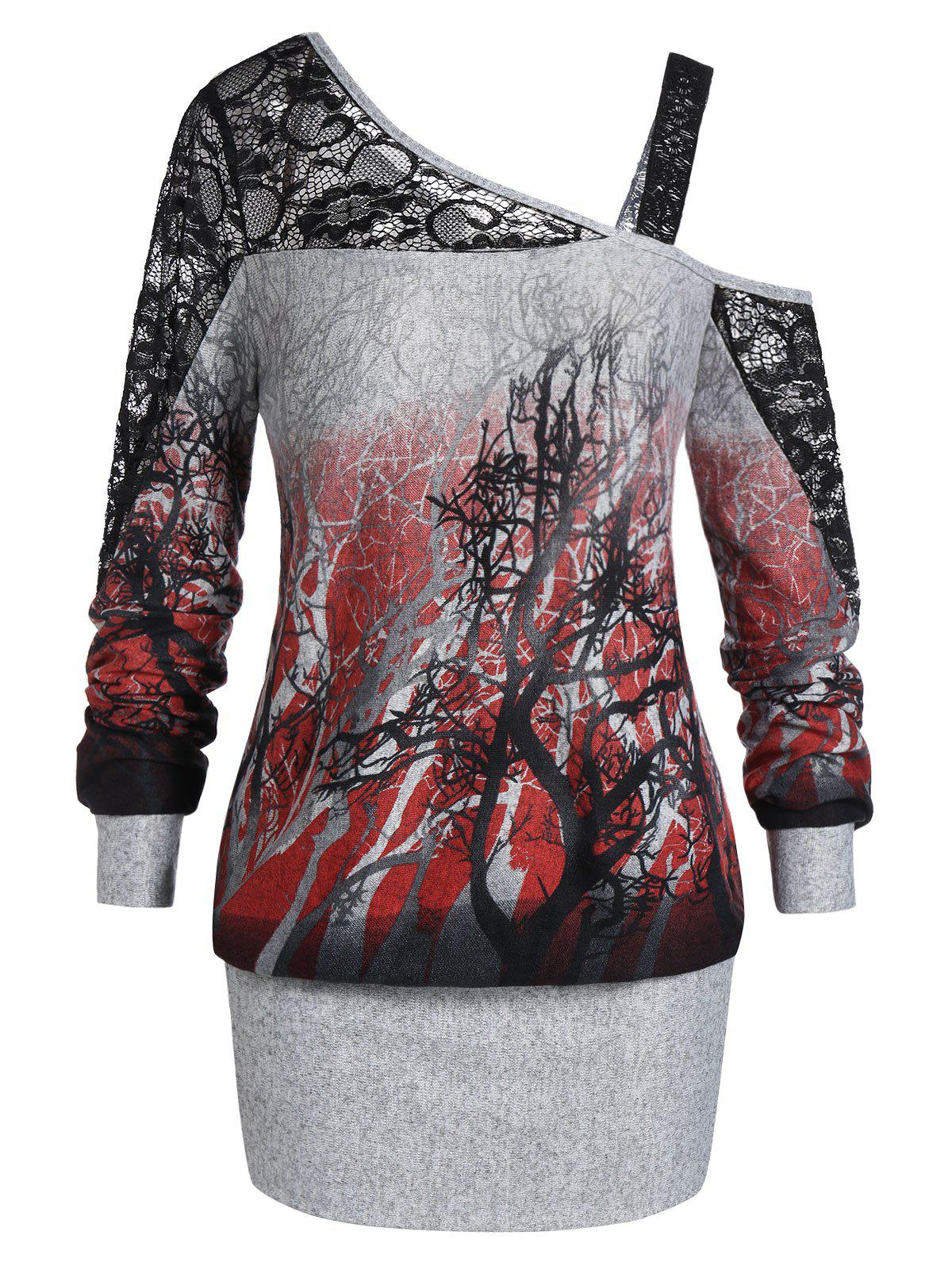 Plus Size Halloween Skew Neck Tree Print Ombre Blouson Sweatshirt