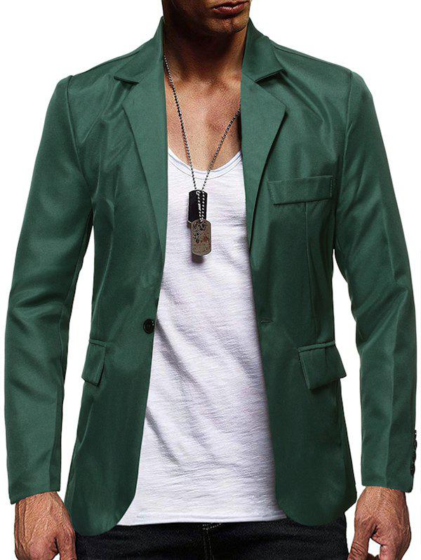 Solid Color Flap Pocket Split Casual Blazer - SHAMROCK GREEN XS