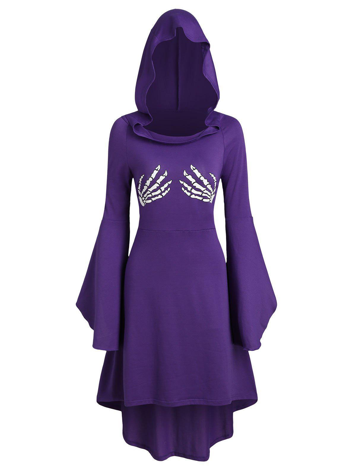 Skeleton Print Lace Up Halloween Hooded Dress - PURPLE XL