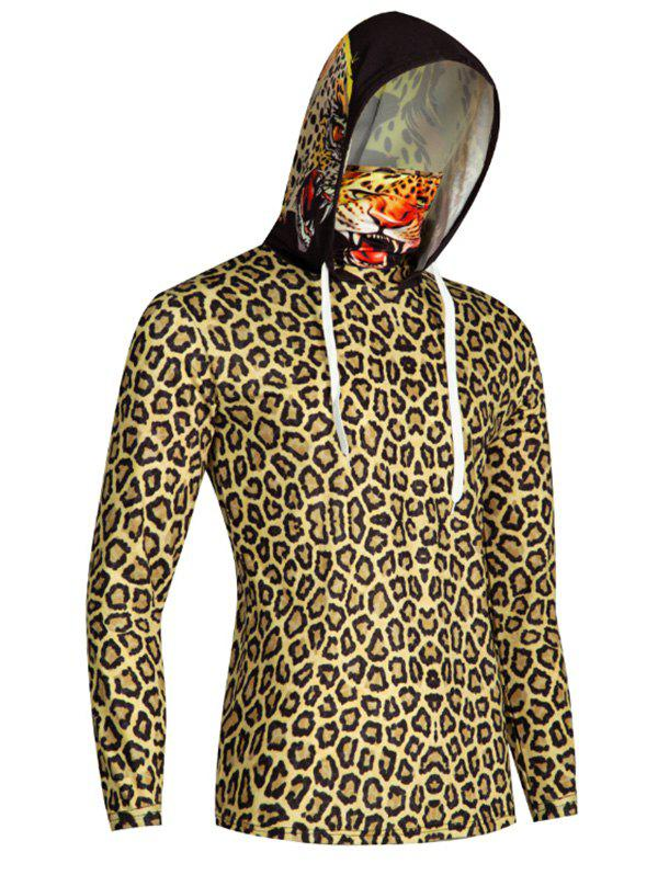 Leopard Print Finger Hole Mouth Mask Hoodie - multicolor L