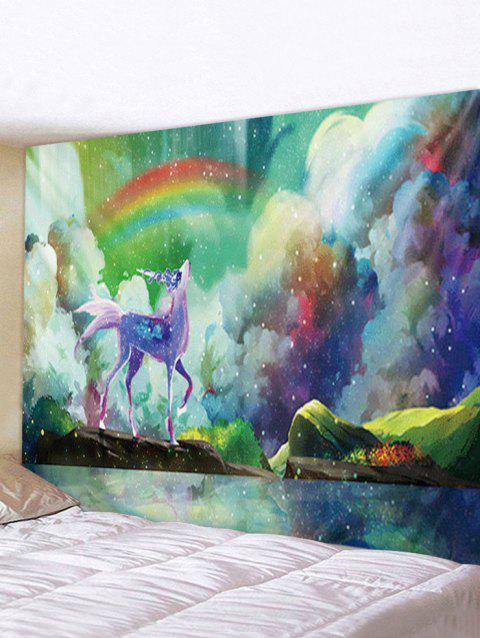Rainbow Lakeside Animal Print Tapestry Wall Hanging Art Decoration - multicolor A W59 X L51 INCH