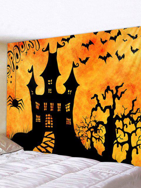 Halloween Night Castle Print Tapestry Wall Hanging Art Decoration - multicolor W91 X L71 INCH