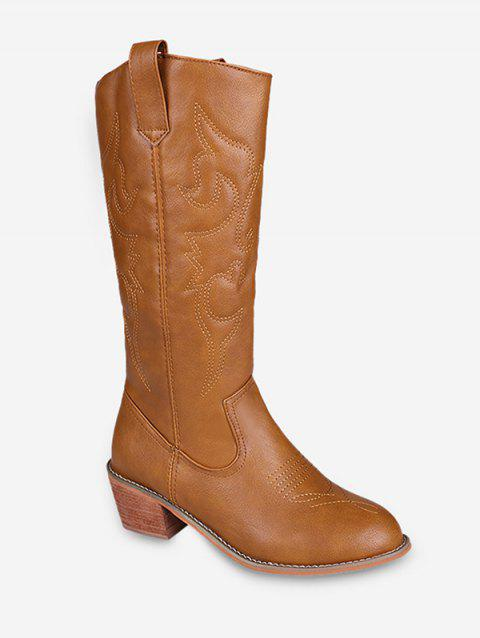 Sewing Stacked Mid Heel Knee High Boots - BROWN EU 40