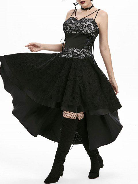 Lace-up High Low Lace Overlay Party Dress - BLACK 2XL