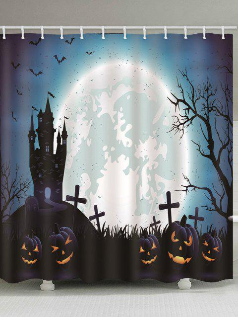 Halloween Castle Cemetery Pumpkin Print Waterproof Bathroom Shower Curtain - multicolor B 180*180CM