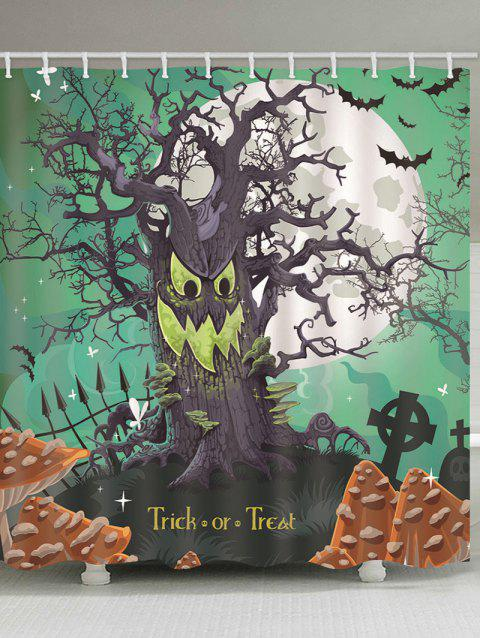 Rideau de douche imperméable à l'image de Halloween Moon Night Tree Print - multicolor B 130*180CM