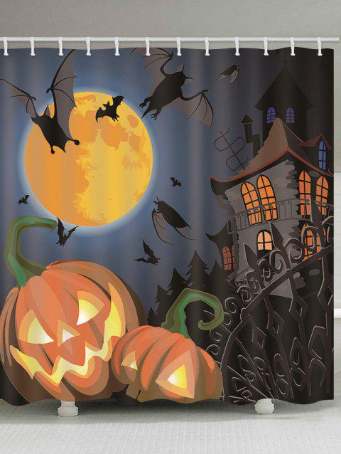 Halloween Castle Pumpkins Print Waterproof Bathroom Shower Curtain - multicolor B 180*200CM